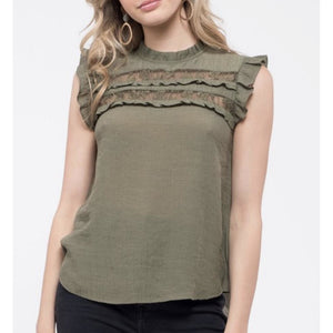 Olive, Ruffle and Lace trim, Top