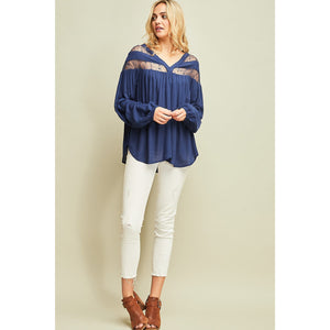 Navy Lace Detail Blouse