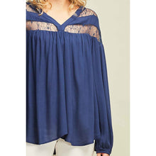 Load image into Gallery viewer, Navy Lace Detail Blouse