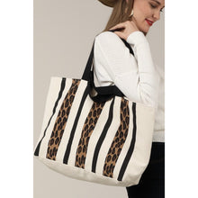 Load image into Gallery viewer, Leopard Stripe Tote