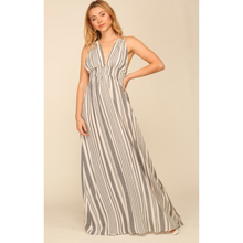 Load image into Gallery viewer, Gray & White Striped Maxi