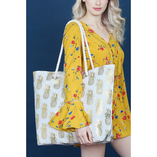 Pineapple Foil; Carry all; Beach Tote