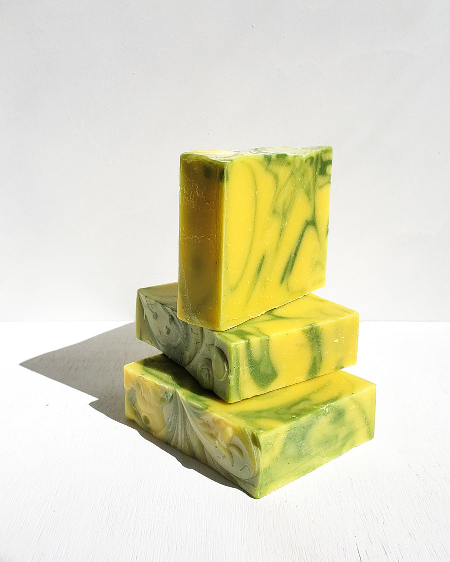 [Highest Quality CBD Skincare & Bath Products Online] - CBD Soap bar, CBD Skin Care Products, Essential Body Bar, yellow and green CBD bath product, 50mg full spectrum hemp oil, Lemongrass benefits for the skin, lemongrass scent.