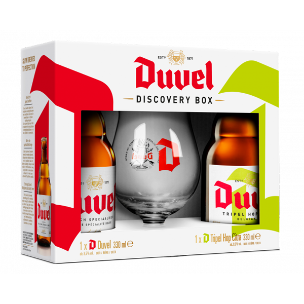 Duvel Gift Pack of 12 x (Duvel 330ml + Duvel Tripel Hop 330ml + Glass) - Pack of 24