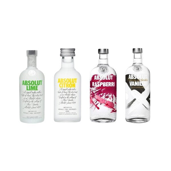 Absolut Mini Flavour Mix Vodka Bottle 50ml - Pack of 24