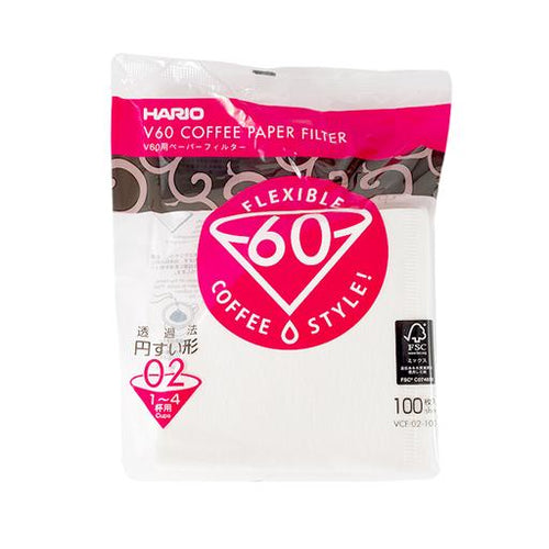 Hario V60 Filters for the 02 Dripper - White - Pack of 100