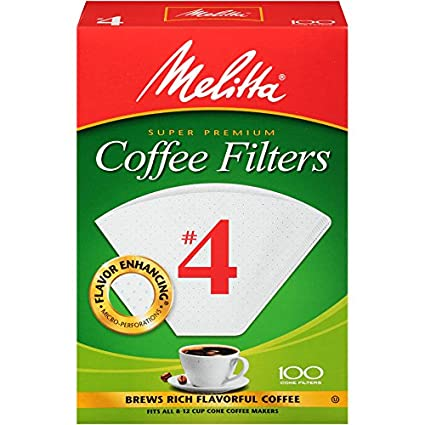 Melitta #4 Cone Filter Paper White 100 Count