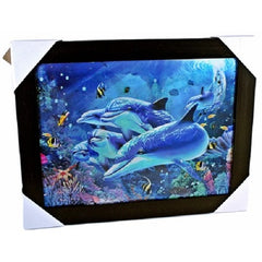 Triple Image 3D Lenticular Picture-Dolphin, Turtle, Whale
