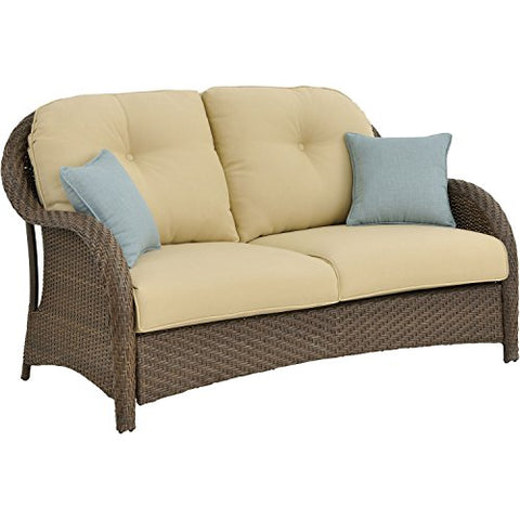 Hanover NEWPT6PCFP-CRM-TN 6 Piece Newport Woven Seating Set in Cream with Fire Pit Table