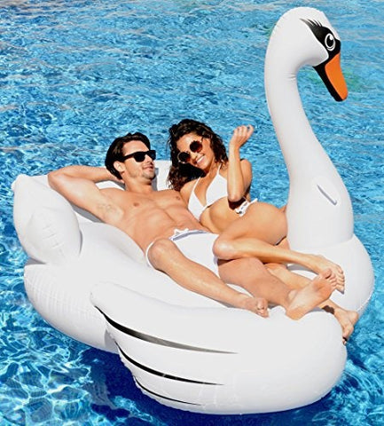 "Giant Swan Pool Float; 78"" Inflatable Raft"