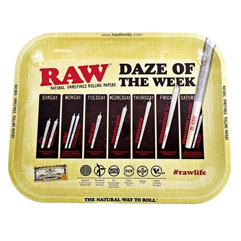"Raw ""Daze Of The Week"" Metal Rolling Tray - Large 11""x13.5"""