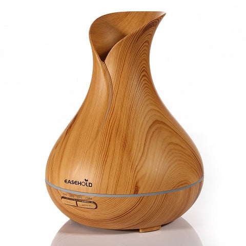 Ultrasonic Aromatherapy Humidifier with Whole Wood Grain and Colorful Lights