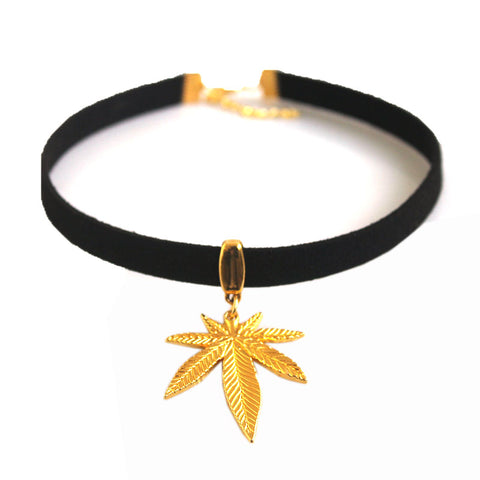 "Black Flat Faux Suede Leather Cord Pot Gold Weed Leaf Charm 13"" Choker Necklace"