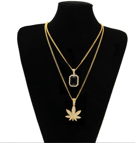 "2pc. Gold Color Pot Leaf and Rhinestone Pendant Necklace w/ 24"" Chain"