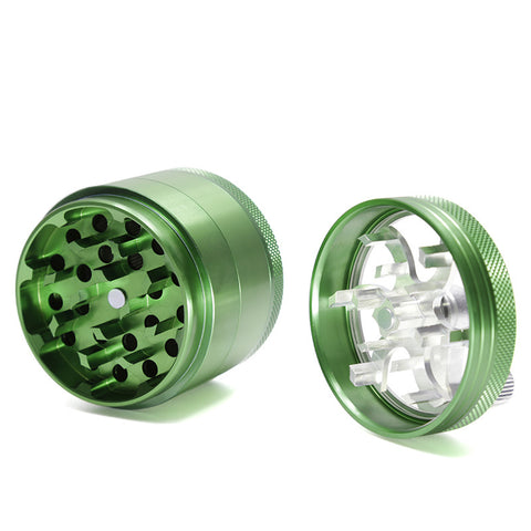 "4-Layer Hand Crank Aluminum Alloy Metal Tobacco Grinder 2"" x 3"" (Color Options Available)"