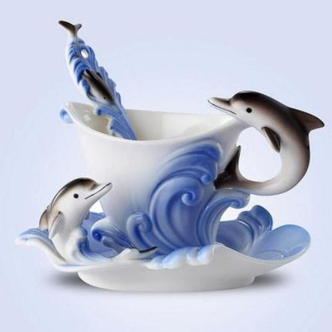 Ocean Wizard Dolphin Cup and Saucer - Ceramic China with Spoon