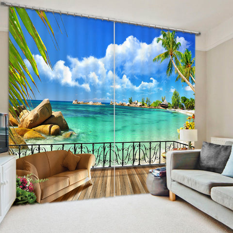 Blackout Window Curtains / Luxury Hotel Drapes Beach Ocean Scenery