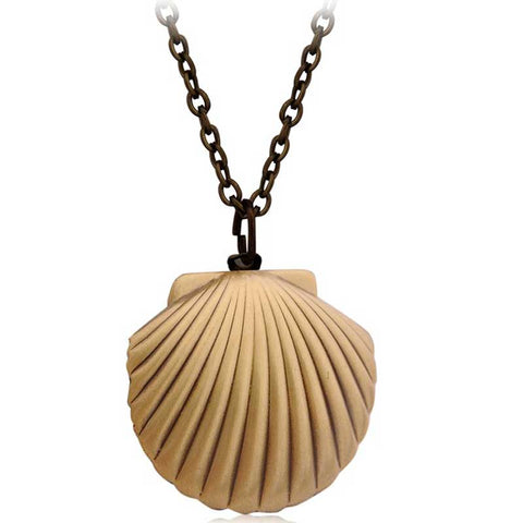 Vintage Style Antique Brass Mermaids Sea Shell Locket Necklace