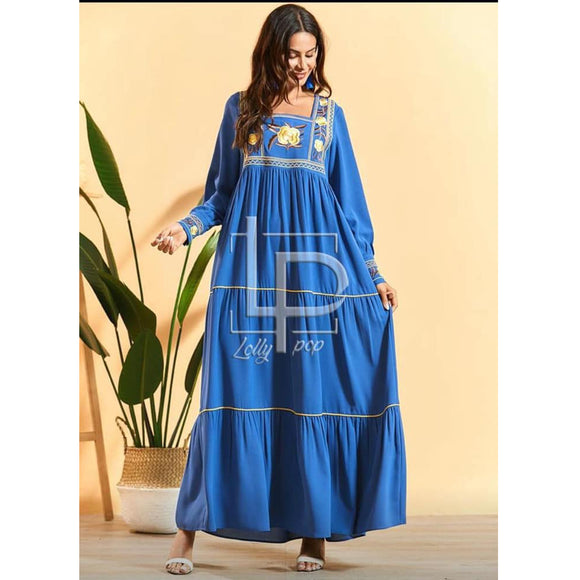 Long Front Embroidered Boski Maxi For Girls Blue