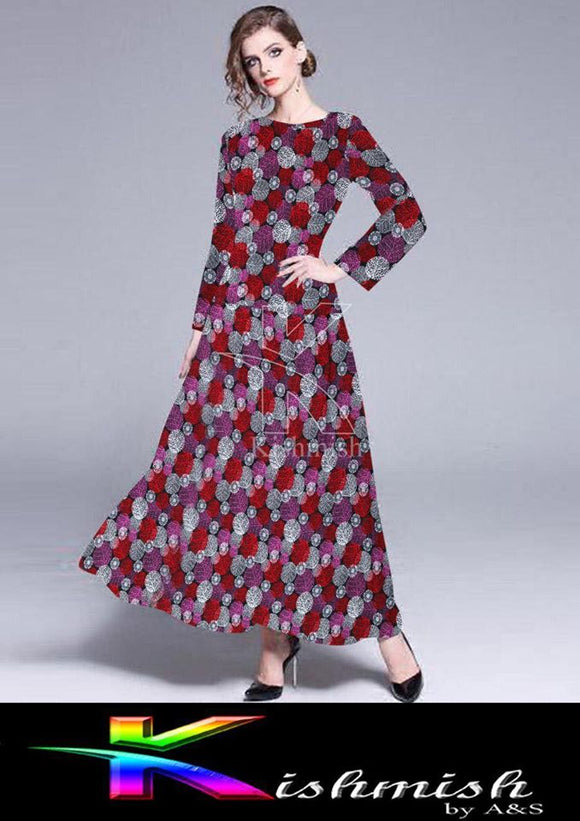 kishmish Long Flower Frock For Her Red