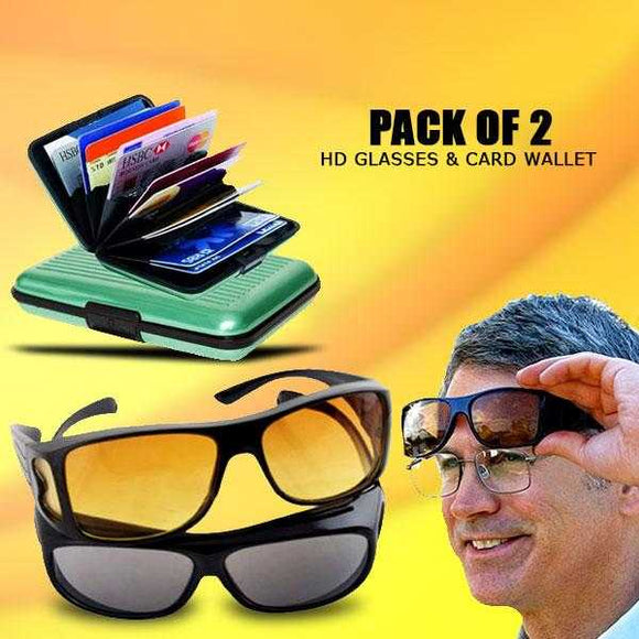 Pack of 2 HD Night Vision & Day Glasses - Black & Yellow | 24HOURS.PK