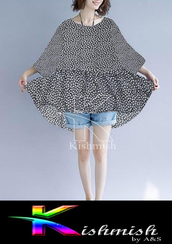 Flower Look Poncho Top For Women Dotted Black & White