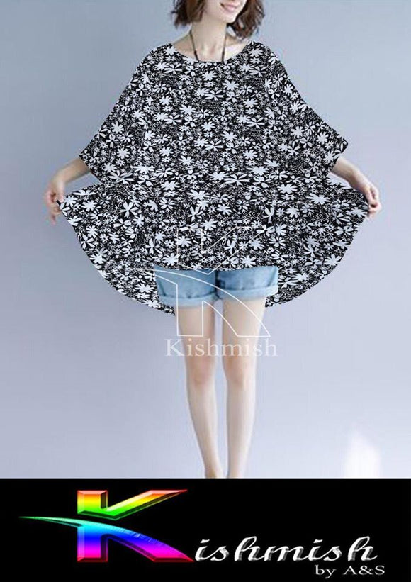 Flower Look Poncho Top For Women Black & White