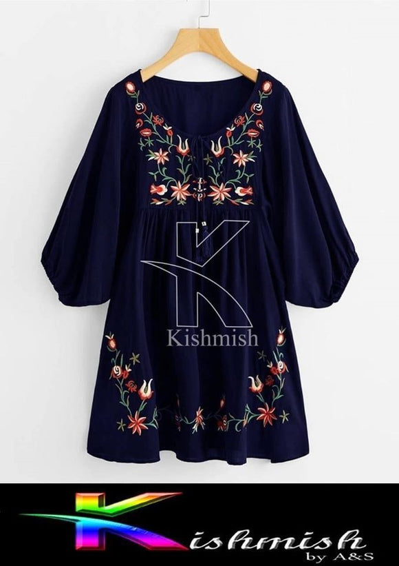 Kishmish Retro Floral Embroidery Blue Kurti For Her