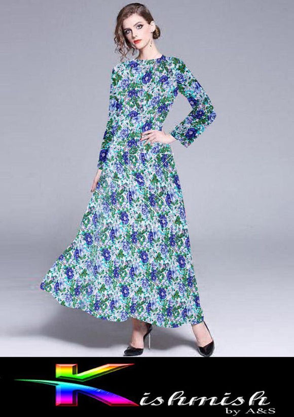 kishmish Long Flower Frock For Her Green