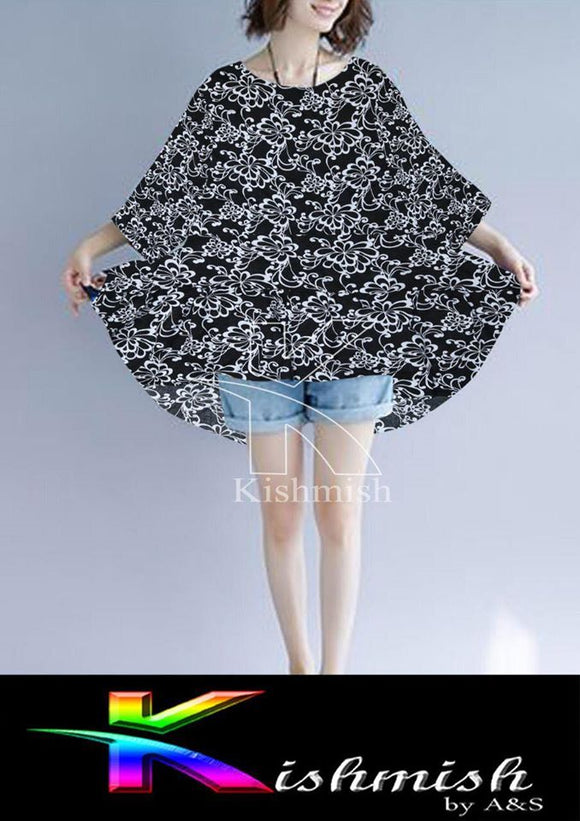 Flower Look Poncho Top For Women Black