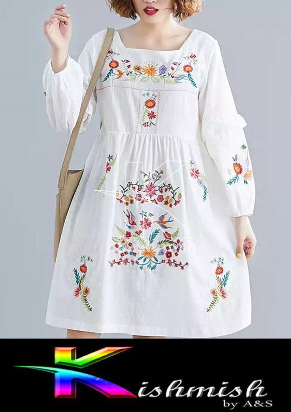 Kishmish White embroidery Kurti For Her