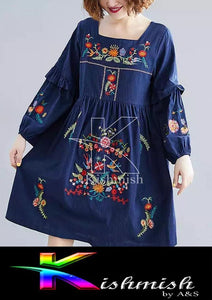 Kishmish Blue embroidery Kurti For Her