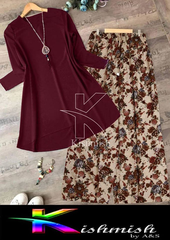 Stylish Plain Top Shirt And Printed Trouser For Ladies Maroon