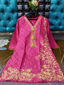 Full Same Embroidery jaal and Heavy Bunches Pink