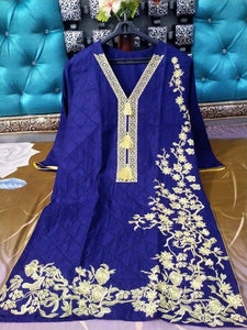 Full Same Embroidery jaal and Heavy Bunches Blue