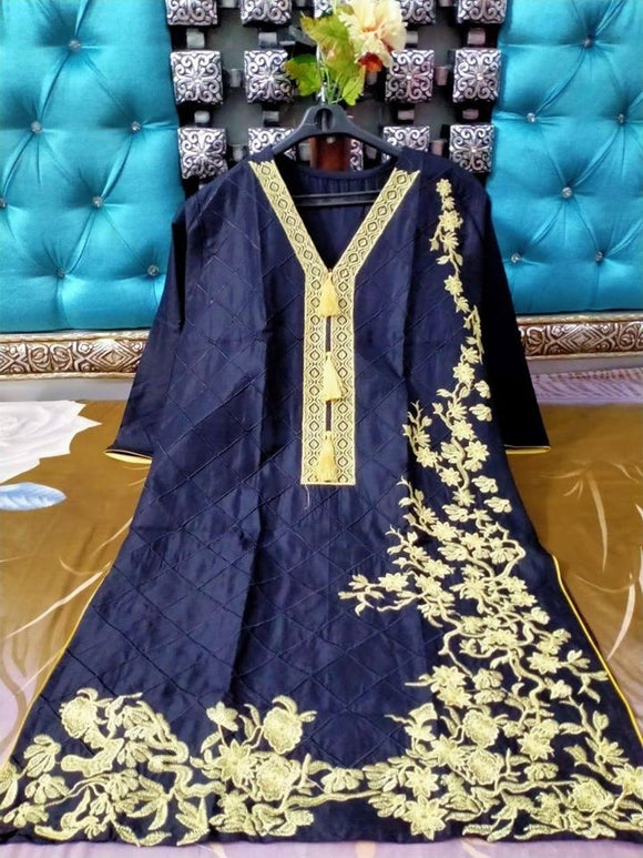 Full Same Embroidery jaal and Heavy Bunches Dark Blue