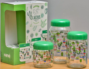 CACTUS 3 PCS SET GLASS JARS MADE IN TURKEY
