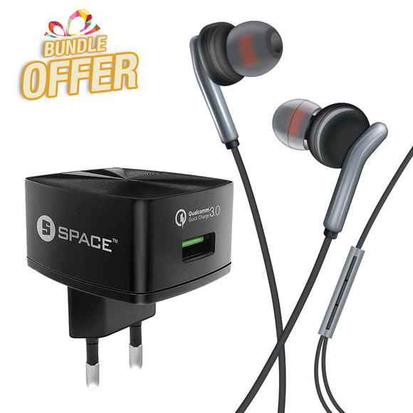 SPACE Quick Charge 3.0 Wall Charger (w Micro USB Cable) + Inspire Wired Earphones WC-130 + IN-520