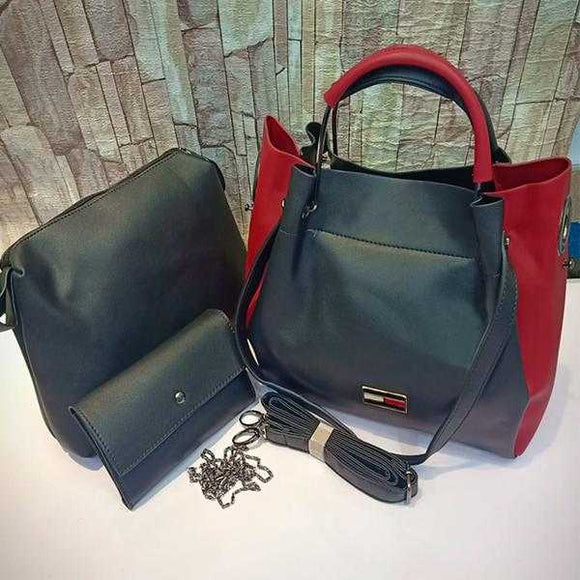 3 Piece Set Of Original Women's Leather Bag Shoulder For Cross Body in Black and Red | 24HOURS.PK