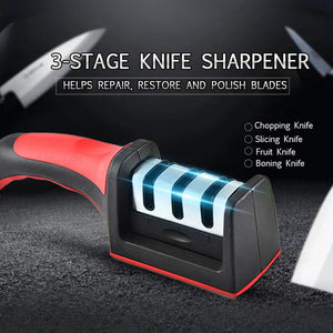 Kitchen Knife Sharpener 3 Stage Steel Ceramic Coated Kitchen Sharpening Tool Helps Repair and Polish Blades | 24HOURS.PK