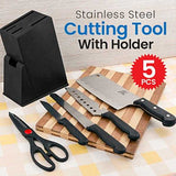 Kitchen 5 Pcs Stainless Steel Cutting Tools With Holder | 24HOURS.PK