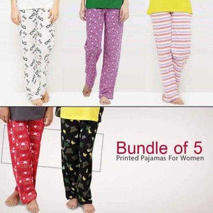Pack of 5 Printed Pajamas for women (1003) | 24hours.pk
