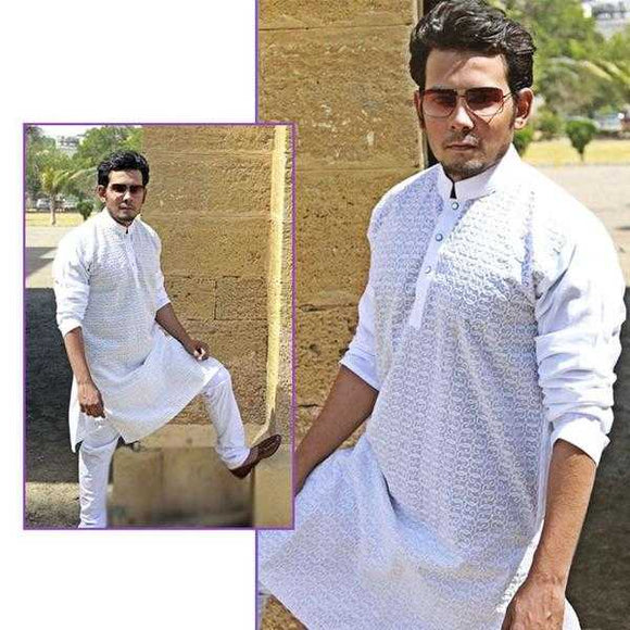 Embroidered Chicken Fabric Stitched Shalwar Kameez For Men (White) | 24hours.pk
