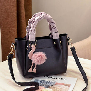 Handbag for Women Shoulder Bag Leather Fashion Hairball  Bag Black | 24HOURS.PK