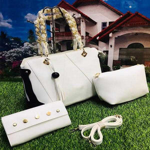Stylish 3 Piece, Cross Body Women Hand Bag, White | 24HOURS.PK