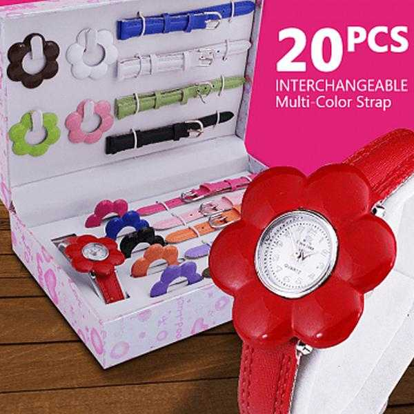 20Pcs Interchangeable Multi-Color Strap & Heart Shape Bezel Watch for Women | 24HOURS.PK