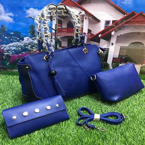 Stylish 3 Piece, Cross Body Women Hand Bag, Dark Blue | 24HOURS.PK