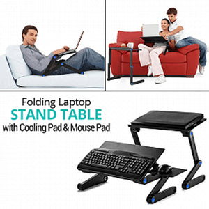 Portable Multifunctional Folding Laptop Stand Table with Cooling Pad & Mouse Pad | 24HOURS.PK