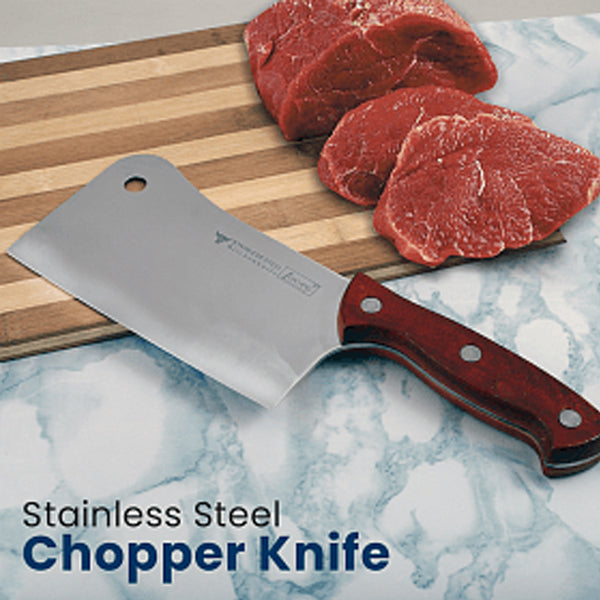 GF Stainless Steel Chopper Knife with Wooden Handle | 24HOURS.PK