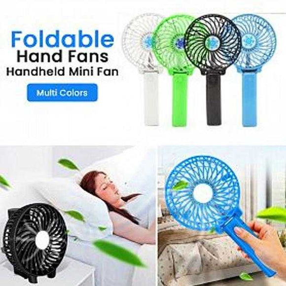 Foldable Hand Fans Battery Operated Rechargeable Handheld Mini Fan, Assorted Color | 24HOURS.PK
